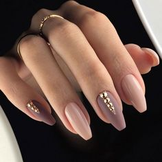 Charming Coffin Nails In Mauve Nail Colors With Tiny Rhinestones #coffinnails #mattenails #rhinestonenail