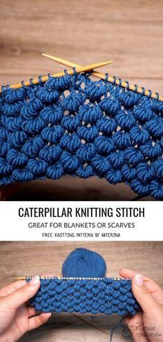 Caterpillar Stitch Knitting Patterns - Crochet - Knitting Instructions and Patterns # Knitting projects knitting projects Knitting Stiches, Easy Knitting Patterns, Free Knitting, Knitting Projects, Crochet Stitches, Baby Knitting, Crochet Patterns, Knitting Tutorials, Knitting Ideas