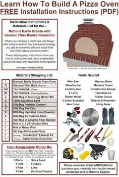 Download your FREE copy of our DIY Pizza Oven Instructions (with Materials Lists).  We show you How to build a Pizza Oven with locally sourced materials with our Descriptively Detailed and Colorfully Illustrated Step-by-Step Installation Instructions.