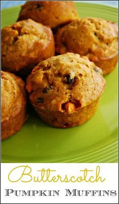 Butterscotch Pumpkin Muffin Recipe - The addition of gooey butterscotch makes these pumpkin muffins extra special! I would leave out the raisins. Uses a whole can of pumpkin and cup applesauce. Easy Blueberry Muffins, Spinach Muffins, Healthy Muffins, Fall Snacks, Fall Treats, Party Snacks, Pumpkin Muffin Recipes, Pumpkin Dessert, Just Desserts
