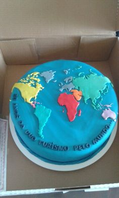 But only 1 color Bon Voyage Cake, Sheet Cakes Decorated, Map Cake, Globe Cake, Farewell Cake, Earth Cake, Susie Cakes, 6th Birthday Cakes, Retirement Cakes
