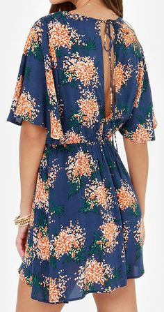 Flirty Blue Floral Print Dress