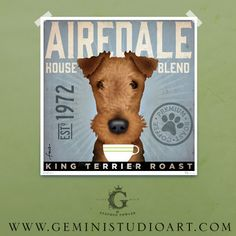 AIREDALE coffee company original graphic art illustration giclee archival signed print by stephen fowler Pick A Size