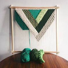 Green geometric weaving by Unruly Edges on Etsy