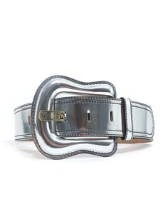 Fendi Metallic Leather Belt in silver www.sabrinascloset.com