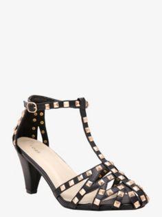 c2547b5c3a6 Pyramid Studded T-Strap Heeled Sandals.  www.torrid.com T Strap