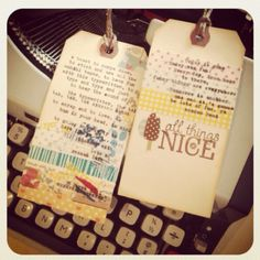 Washi and typewriter on tags = heavenly
