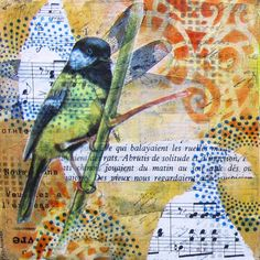 """Blue tit - an original mixed media collage on mdf - 4"""" x 4"""""""
