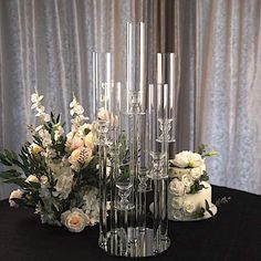 Candelabra Centerpiece, Crystal Candelabra, Table Centerpieces, Aisle Decorations, Buy Candles, Votive Candles, Decorative Pillars, Gold Candle Holders, Candle Packaging
