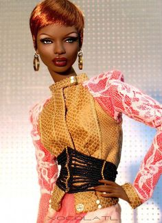 'XocolAtl' Ajuma commission: milk chocolate skintone, with wig by Chewin, jacket by Cholo, Dinka corset by Leigh in Maine, and everything else Numina. African American Beauty, African American Dolls, Beautiful Barbie Dolls, Pretty Dolls, Fashion Royalty Dolls, Fashion Dolls, Diva Dolls, Dolls Dolls, Poppy Parker