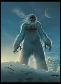 Yeti, The Abominable Snowman, or Metch-Kangmi in Tibetan, is a huge, hairy creature that walks upright and haunts the snow-capped peaks of the Himalayas. While leading an expedition on Mt. Annapurna in 1970, Don Whillans spotted a large, furry creature walking on two legs on a nearby mountain. The Sherpa people of the region have believed that the Himalayan peaks are haunted by demons and spirits, while the Yeti, an ancient beast, prowls the mountains.