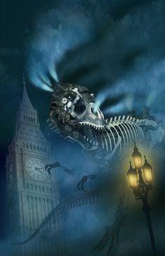Illustrazione editoriale romanzo - Cacciatore di ossa - Justin Richards, copertinario editrice Mondadori Milano