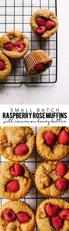 These small batch (gluten-free) Raspberry Rose Muffins with Cinnamon Honey Butter are the PERFECT way to treat your valentine. #glutenfree #muffins #valentinesday | Brewing Happiness