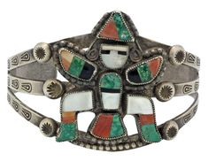 Antique Collection, Bracelet, Zuni, Knifewing, Circa 1940s, Multi Stone, 6.5 in - $595.00