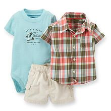 Carter's Boys 3 Piece Pink/Green Plaid Button Down Shirt, Light Blue
