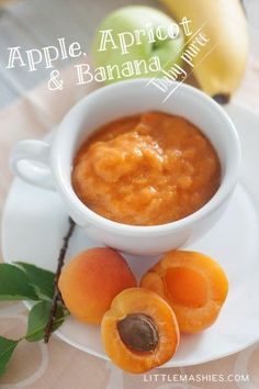 Baby food recipe Apple, Apricot and Banana puree from Little Mashies reusable food pouches.