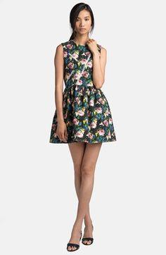 MSGM Zip Detail Rose Print Dress | Nordstrom