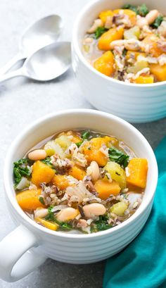 Slow Cooker Wild Rice Vegetable Soup - This healthy crock pot soup is great for meal prep lunches and dinners! With butternut squash and kale. Vegan Slow Cooker, Slow Cooker Recipes, Crockpot Recipes, Cooking Recipes, Slow Cooking, Crockpot Lunch, Rice Recipes, Cooking Tips, Recipes