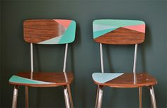 painted chairs DIY - vintage, modern, geometric, color blocking. Also love the color scheme!