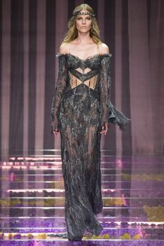 Into the Future - Charcoal Grey Evening Gown - atelier versace fall 2015 couture