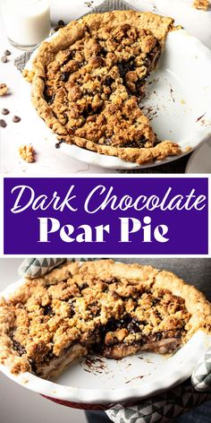 This decadent chocolate pear crumble pie is full of ooey-gooey dark chocolatey-pear & walnut deliciousness. Pear pie filling drenched with a rich dark chocolate ganache. Then layered with a walnut brown sugar crumble topping that gets crispy in the oven. #chocolatepearpie #pearpie #chocolatepearcrumble Easy Pie Recipes, Pear Recipes, Sweets Recipes, Easy Desserts, Baking Recipes, Delicious Desserts, Yummy Food, Pie Crumble, Crumble Topping