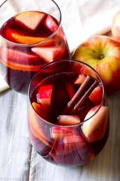 This sangria is THEE drink to make this fall. It combines red wine, brandy, cinnamon, apple cider, citrus, and of course - sweet honeycrisp apples! sallysbakingaddiction.com