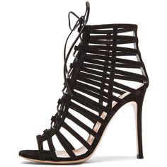 Gianvito Rossi Lace Up Suede Heels ❤ liked on Polyvore featuring shoes, pumps, heels, saltos, black lace up pumps, black lace up shoes, kohl shoes, heel pump and black pumps
