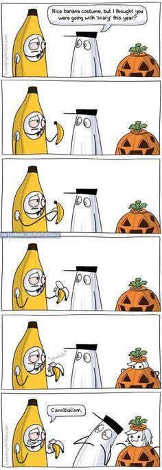 funny, banana, and cannibalism image