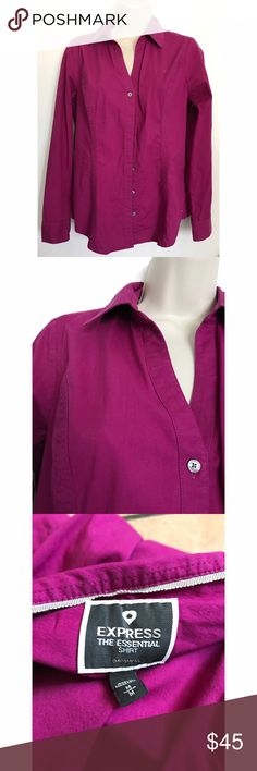 Express The Essential Magenta Shirt Size: Medium. Condition: No defects. Please ask me further questions or more picture requests in the comments, I will be happy to answer! :) Express Tops