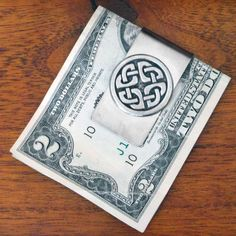 Celtic Money Clip with Shield Knot- in Stainless Steel and Pewter - ID  holder 06a57eda94