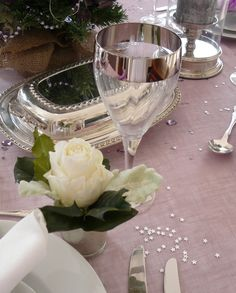 Laura Ashley glasses in a mauve Christmas tablescape
