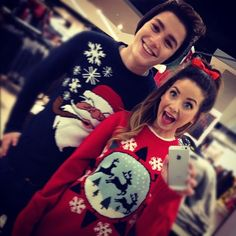 Christmas jumpers! Zoella and Jack