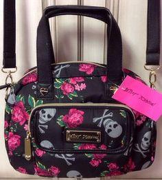 Betsey Johnson Satchel Bag Skulls N Roses NWT MSRP $88.00