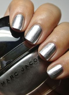 """Top 10 Nail Art Ideas that you will Love ~ Stone Jungle ~ Metallic is a huge fashion trend, so dying your nails in metallic is the best way to """"accessorize"""" your fingers. The silver-looking nails will go so good with silver jewelry."""