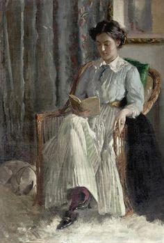 Carl Theodor von Blaas (Austrian painter) 1886 – 1960 Lesende junge Dame, s.d. oil on canvas laid on canvas 129 x 89 cm. (50.8 x 35 in.)