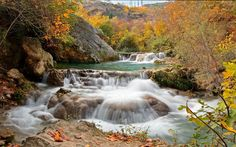Download wallpapers mountain river, autumn, waterfalls, rapids, yellow trees, mountain landscape