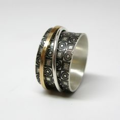Modern Concentric Circles and Squares Sterling Silver & 14k Gold Spinner Ring by janiceartjewelry