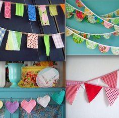 Hemos encontrado la forma perfecta de decorar vuestra habitación y pasarlo en grande: Guirnaldas de tela ¡Muy fácil...y sobre todo, muy bonito! http://www.juntines.com/?idPlan=2259