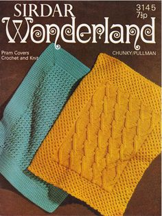 Items similar to PDF Vintage Baby Blanket Shawl Knitting & Crochet Pattern, Sirdar 3145 Pram Cover, CHUNKY Aran Rug Cable Heirloom Old Fashioned on Etsy Chunky Crochet, Knit Crochet, Crochet Hats, Vintage Knitting, Baby Knitting, Blanket Shawl, Baby Christening, Prams, Baby Blankets