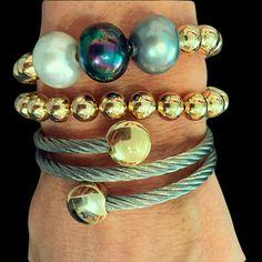 Set By Vila Veloni Gold And Mallorca Pearls Bracelets