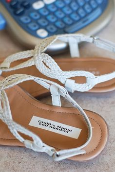 Great idea! In case you get separated from your kids, print a label with child's name and parent's cell number and stick it in her shoe. Genius!
