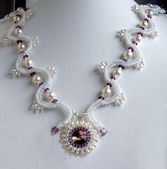 "Колье ""Зимняя дорога"" - украшения из бисера - beaded jewelry"