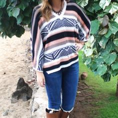 Beach Bum Knit Poncho Super boho knit poncho perfect for throwing over some jeans for cool evening at the beach bonfire! New, never been worn. Reasonable offers only, no trades ✨ Sweaters Shrugs & Ponchos