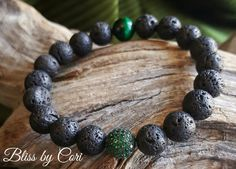 Green Tiger/'s Eye Beaded Stretch Bracelet Duo with Micro Pave Bead *FREE SHIPPING*
