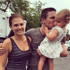 """Sext Arrow star Stephen Amell had his arm around his wife as he kissed their daughter, writing, """"What a tremendous treat it was to have my two ladies with me in New York for the past month. For a brief snippet in time, they were absolute New Yorkers. I'm awfully lucky."""""""