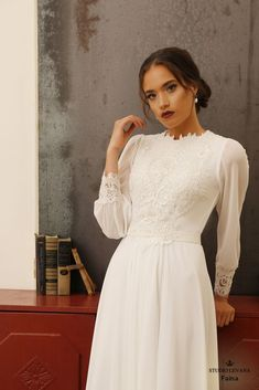 Modest wedding gowns Faina wedding dresses off white Modest wedding gowns- Modest Whispers Collection - Studio Levana - Couture Wedding Gowns Modest Wedding Gowns, Couture Wedding Gowns, Modest Dresses, Bridal Dresses, Bridesmaid Dresses, Dresses With Sleeves, Long Sleeve Wedding, Plus Size Wedding, Bridal Collection