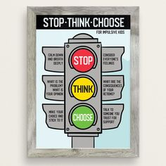 Stop Think Choose For Impulsive Kids Poster - Therapy & Counseling Counseling Posters, Counseling Activities, Anger Management Activities For Kids, Elementary Counseling, School Counseling, Therapy Worksheets, Therapy Activities, Kids Therapy, Coping Skills