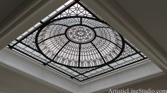 "Stained and leaded glass dome with clear crystal jewels ""Bridal Path"" for a bathroom of a private residence in Toronto, Ontario. Skylight Glass, Skylight Shade, Skylight Blinds, Skylight Design, Skylights, Dome Ceiling, Floor Ceiling, Glass Ceiling, Glass Roof"