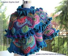 "crochet knit unlimited: Freeform Crochet Shawl ""Russian Rhapsody"" Sophie Gelfi"