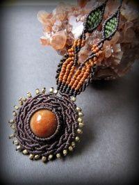 太陽デザイン♪オレンジジェード翡翠マクラメ編みネックレス*天然石パワーストーン